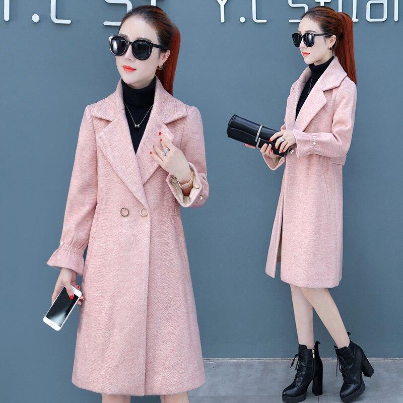 Populaire Femme Manteau Long Laine 2019 Motif Pink blue Chevrons Hepburn Coupe Veste apricot Hiver De Moyen Automne Femmes vent Nouvelle wdAPRXZqP