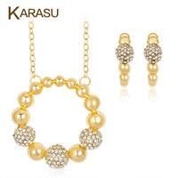 KARASU Shamballa Beads Round Circle Pendant Necklace Earrings Set Shiny Rhinestones Gold Color Jewelry Sets For
