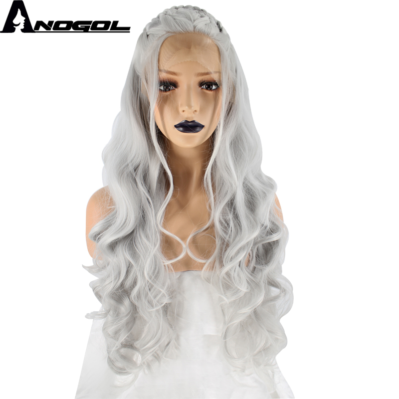 Anogol Natural Silver Grey Long Wavy Braided High Temperature Fiber Synthetic Lace Front ...