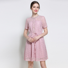 5XL women work dresses for summer european plus size women brief cute office lady lace print pink casual dresses female