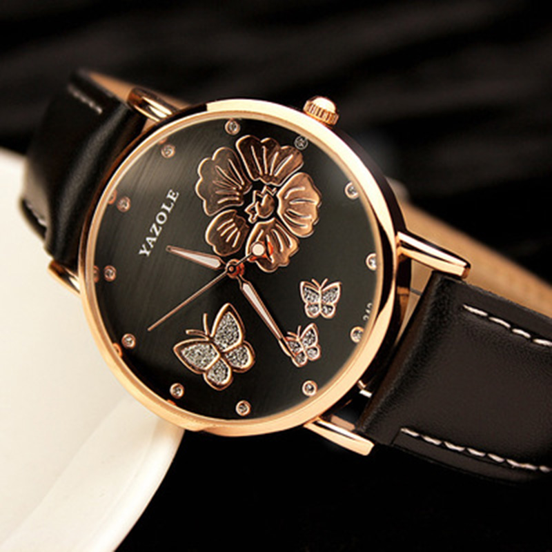 2019 New Fashion Yazole Butterfly Flower Bling Genuine Leather Quartz Wedding Wristwatches Wrist Watch Women Montres Femme