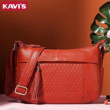 KAVIS 100% genuine leather women shoulder handbag