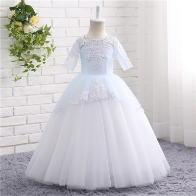 2018 Wedding Pageant Floor Length Half Sleeves Embroiered Pearls   Flower     Girl     Dress   Appliques