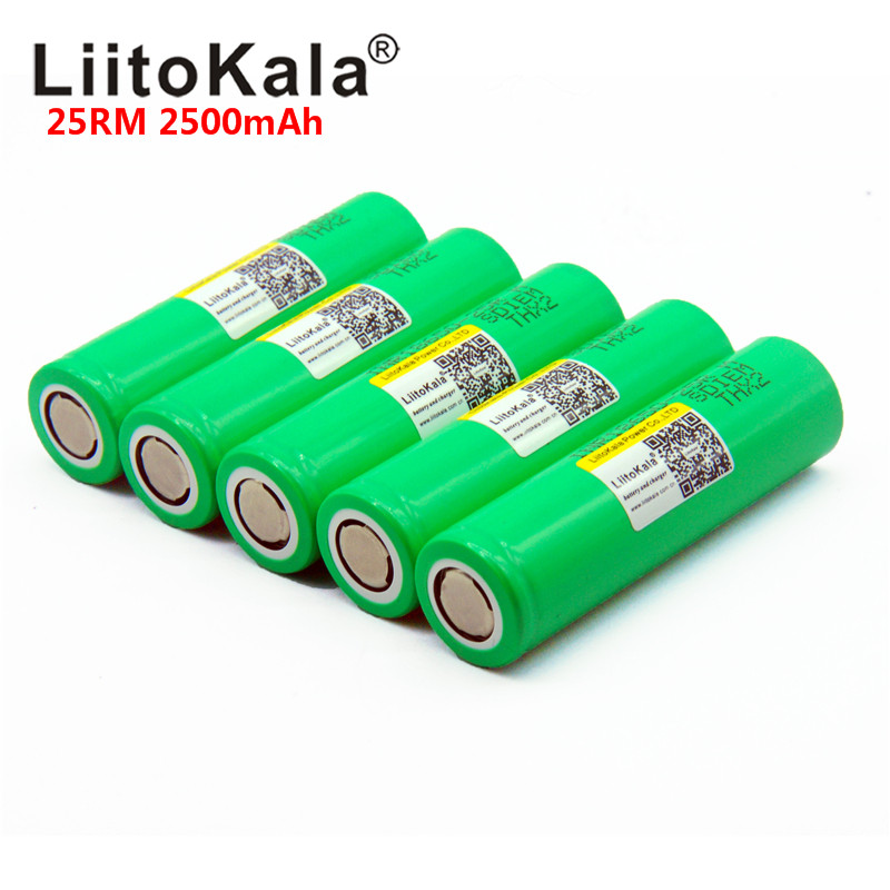 NEW LiitoKala 25RM 100% Original  18650 2500mah Battery INR18650 25R  20A High Power Discharge Rechargeable Battery
