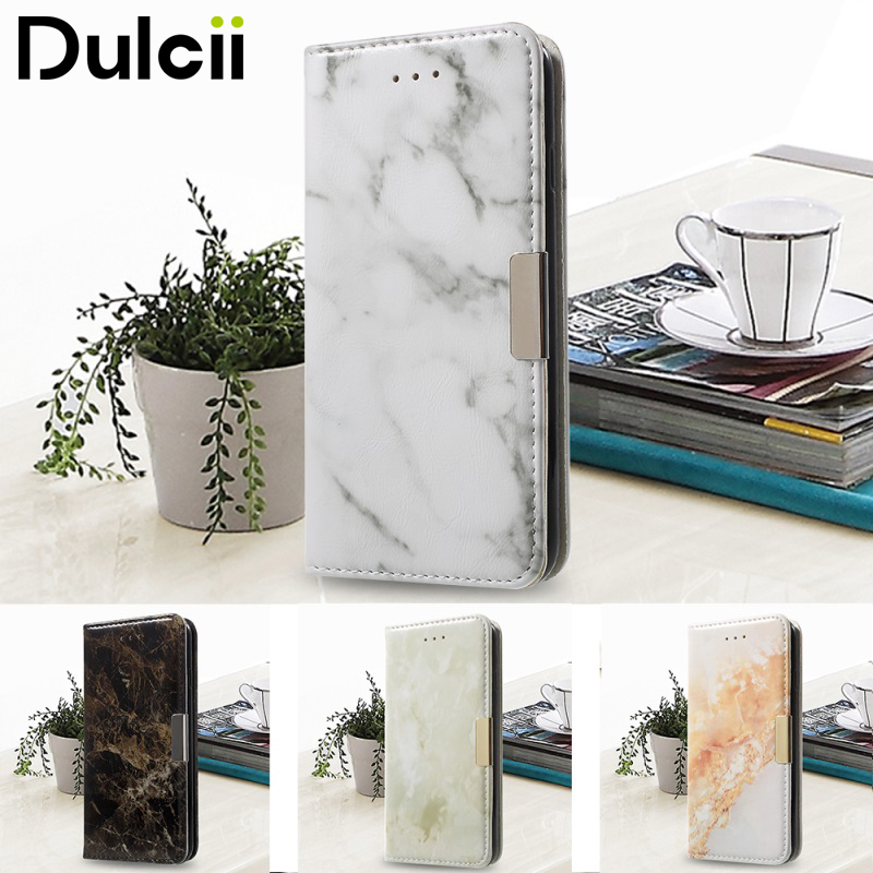 DULCII for iPhone 7 8 Plus iPhone8 Phone Case Marble Texture Wallet PU Leather Cover for Apple 7Plus 8Plus iPhone7 Shells Fundas