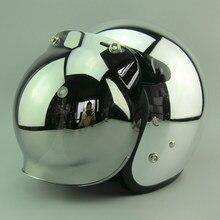 Kostenloser versand mode 3/4 offenes gesicht oldtimer motorrad helm Personalisierte chrome retro roller helm S ~ XL größe helme