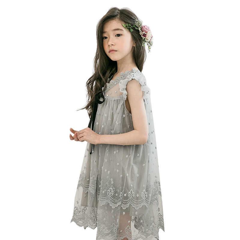 Летнее Детское кружевное платье без рукавов костюм принцессы серого цвета Вечерние платья из тюля с вышивкой и бантом для девочек 4-14 лет
