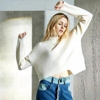 Кашемировый свитер Дамская зимняя водолазка черный, белый цвет Свитеры для женщин Свободные толстый Для женщин теплый натуральный Высокое