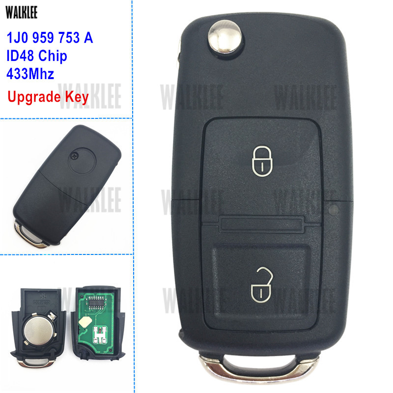 WALKLEE 1J0959753A Upgrade Remote Car Key Fit for VW/VOLKSWAGEN Lupo Bora Passat Polo Golf Beetle 1J0 959 753 A 1JO HLO