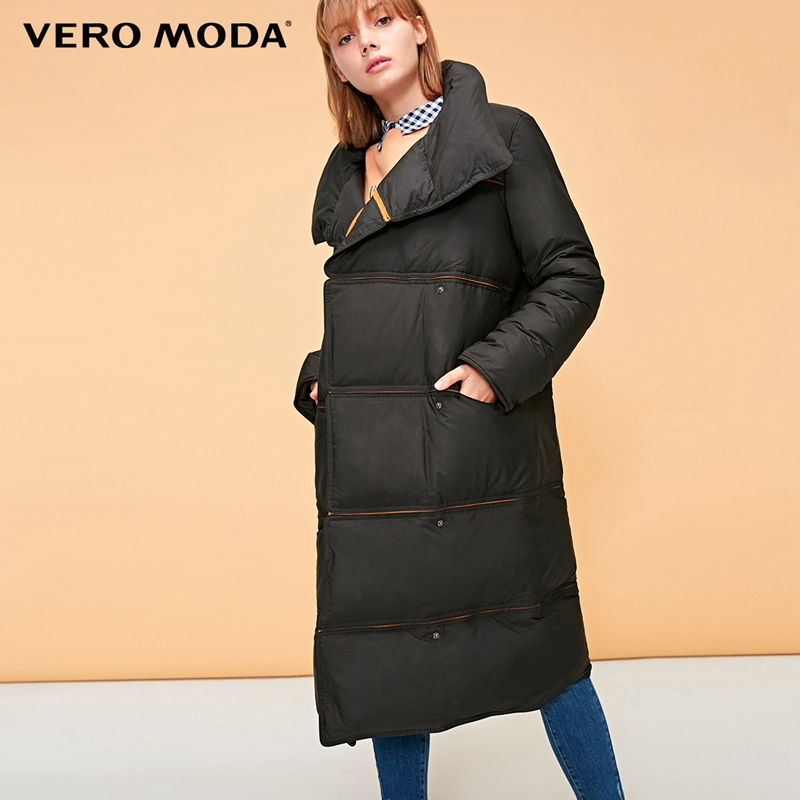 Vero Moda New Webbing Stitching Edging Medium And Long Bomber Down Jacket | 318412549