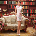 Ladies Summer Qipao Traditional Chinese Short Qipao Cheongsam Retro Elegant Character Print Dress