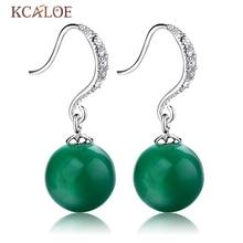 Balón largo Pendientes Clásicos Pendientes de Piedra Pendientes de La Manera Famosa Marca Plata de ley 925 Natural Gota Pendientes de Jade Verde