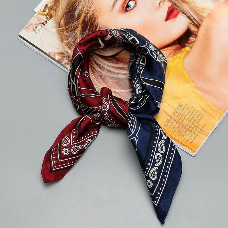 HANSCARF multifuncional impreso 100% pañuelo de sarga de seda mujeres calidad mano de seda bufandas corbata pulsera bolso bufanda