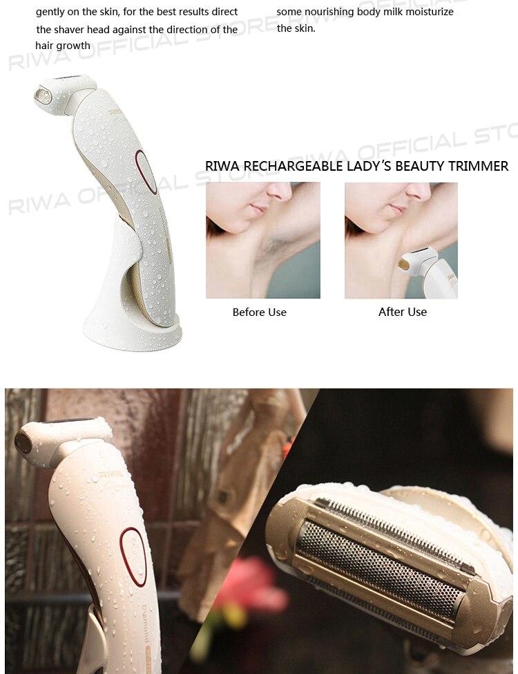Riwa эпилятор эпиляция инструменты RF-770A мокрый сухой 3 в 1 плавающая головка аккумуляторная электрическая бритва для женщины триммер для бикини Electric Shaver
