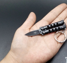 Mini 9cm buttefly knives toys for adult outdoor spare parts with keychain cheap YHEQUIPMENT Metal 12-15 Years Grownups 8-11 Years Unisex Mini knives toys About 8cm Diecast Sword Weapon Category Sharp take care Above 14 year old
