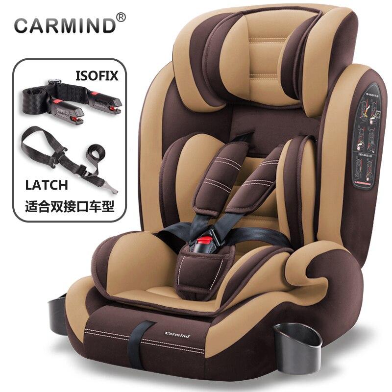 Carmind enfant siège de sécurité de voiture pour 9 mois-12 ans avec doux connecteur isofix + verrou