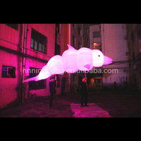 Free shipping 5m long lighting inflatable dolphin for stage decoration