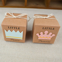 Candy Box Vintage Kraft Paper Baby Shower Gift Bag Wedding Favors Guests Gifts Boxes 20 Pcs 2*2*2 Inch Party Supplies HG