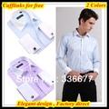 Бесплатная доставка Итальянский роскошный белый воротник и манжеты camisa добби Синий/Сиреневый Французский манжеты бизнес рубашки для мужчин QR-1330