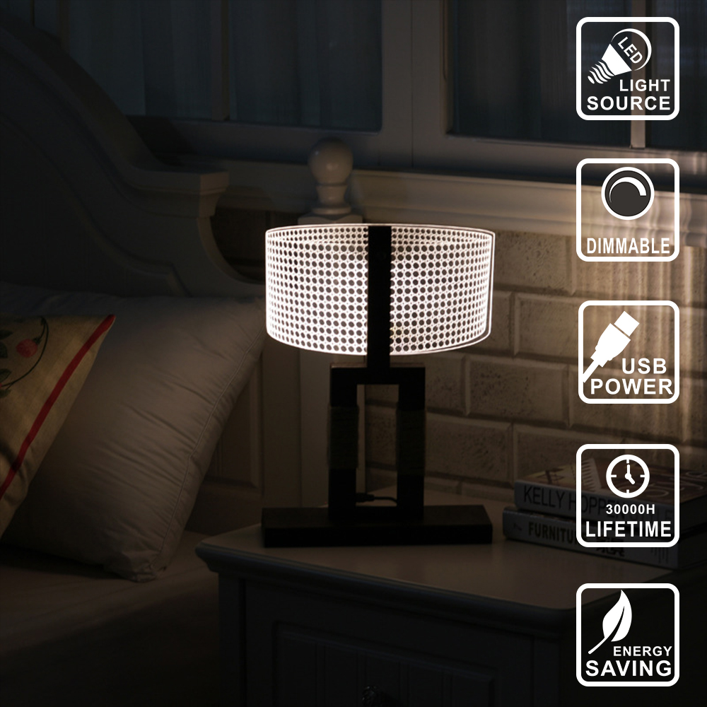 3D lamp Led Night Light Acrylic Nightlight wood lamp USB Table Lamp Nightlight lighting for Home Bedside Night light IY804002 nfl 3d light touch led lamp 7 colors dallas cowboys 3d sleeping led light lampara acrylic usb 3d nightlight 3d kids night light