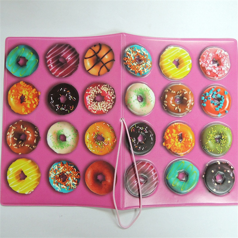Doughnut Passport Holder For Girls, 3D Design PU Leather Passport Cover For ID Card Holder, Size:14*10CM