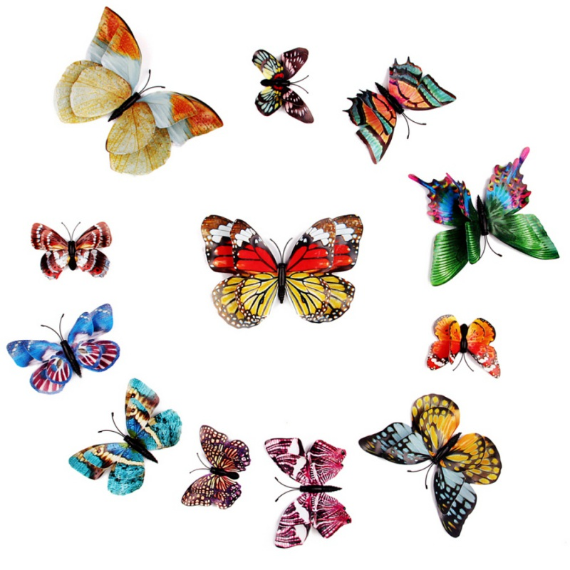 12 Pcs 3D Creative Butterfly Wall Stickers PVC Self-Adhesive Luminous Colorful Butterfly Wall Decals Magnets And Glue Stickers
