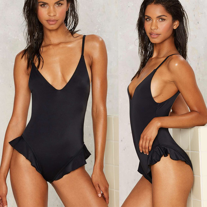 2017 Ruffle One Piece Swimsuit Push Up Swimwear Women Sexy Monokini Solid Bathing Suit High Cut Beachwear Maillot de Bain Femme sexy one piece swimsuit women swimwear trikini bathing suit push up monokini padded maillot de bain femme halter beachwear d261