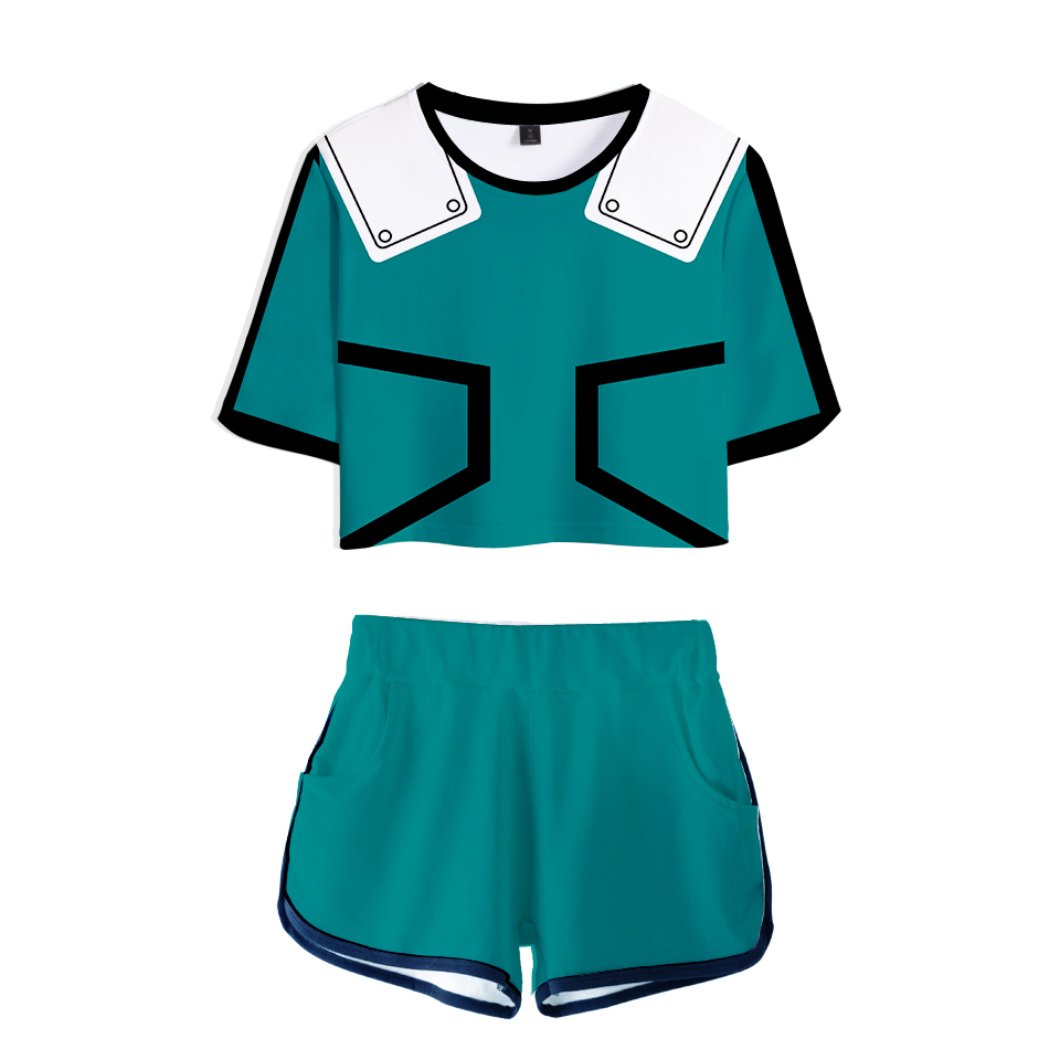 My Hero Academia Hot Anime Cool Midriff T-Shorts Sexy Club Suit Vrouwen Summer Excellent Quality Hip-Hop Short T-Shirts Men