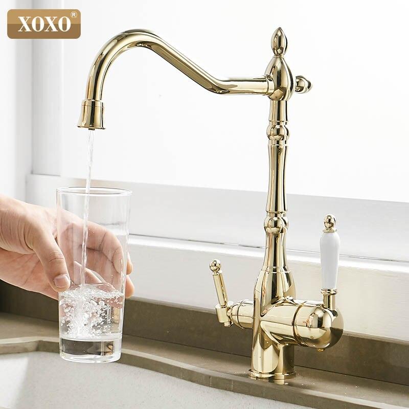 XOXO filtre cuisine robinets pont monté Torneira Cozinha mélangeur robinet eau froide et chaude Purification grue pour cuisine