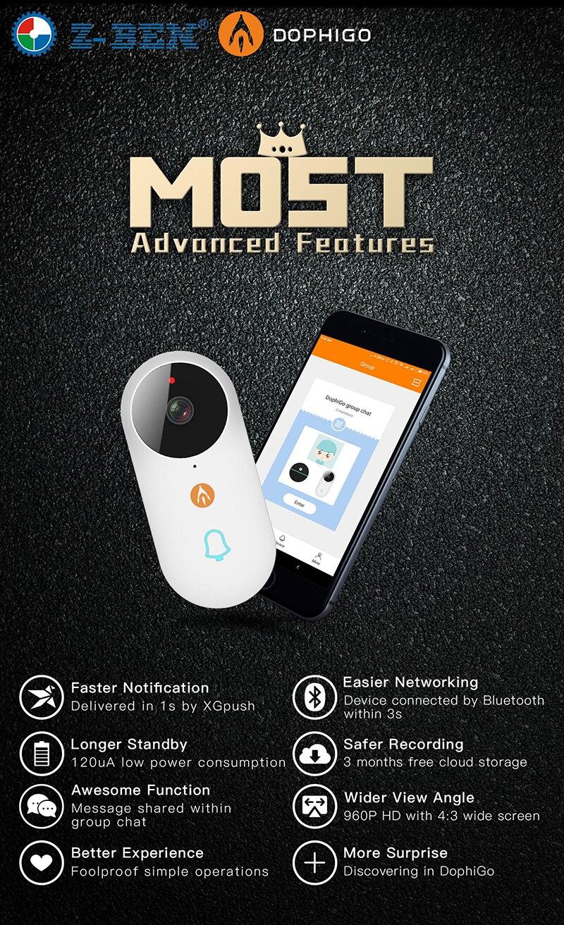 Sans fil IP Bluetooth sonnette 960P caméra vidéo téléphone WIFI P2P porte cloche Vision nocturne IR mouvement détecter alarme pour IOS Android - 3