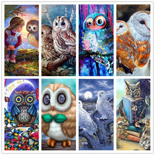 Diy Diamond Painting Owl Cross Stitch Beautiful Blue Animal Needlework Home Decorative 3D Full Square Embroidery