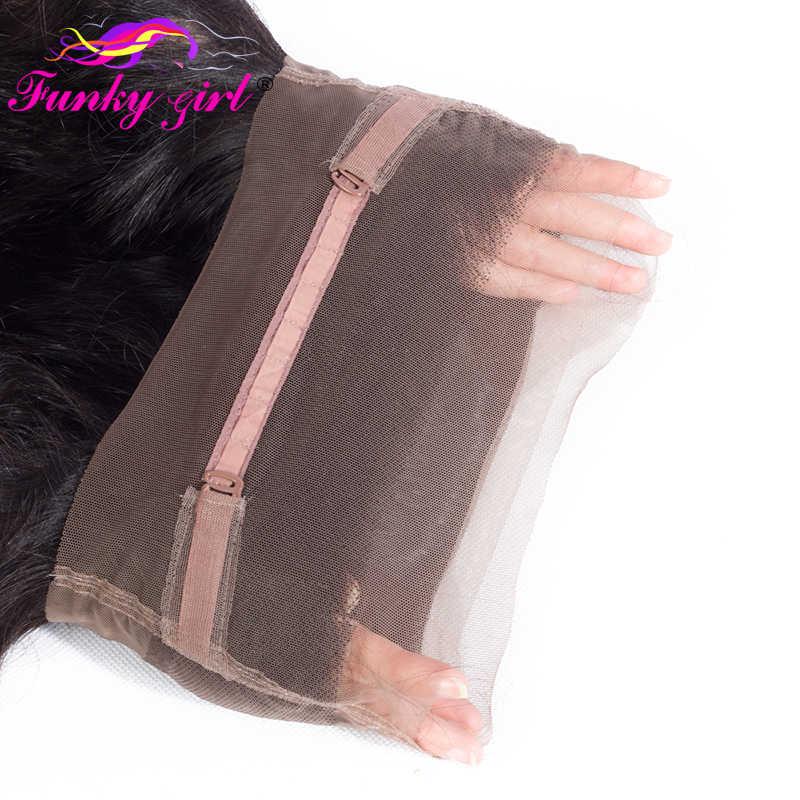 Funky Meisje 360 Kant Frontale Met Bundels Pre geplukt Indian Human Hair Body Wave Bundels Met Frontale Sluiting Non- remy Haar