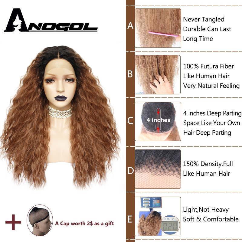 Anogol Long Kinky Curly Peruca Futura Fiber Hair Wigs Black Ombre Brown Synthetic Lace Front Wig For African American-in Synthetic None-Lace  Wigs from Hair Extensions & Wigs    2