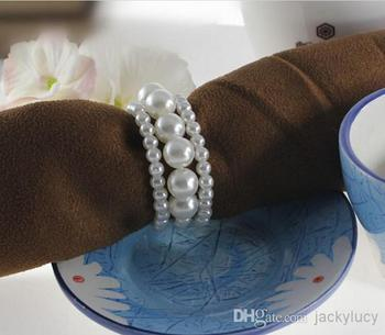 New Shiny Pearls Napkin Rings For Wedding Favor Supplies Party Table Decoration Accessories Top Quality Free Shipping