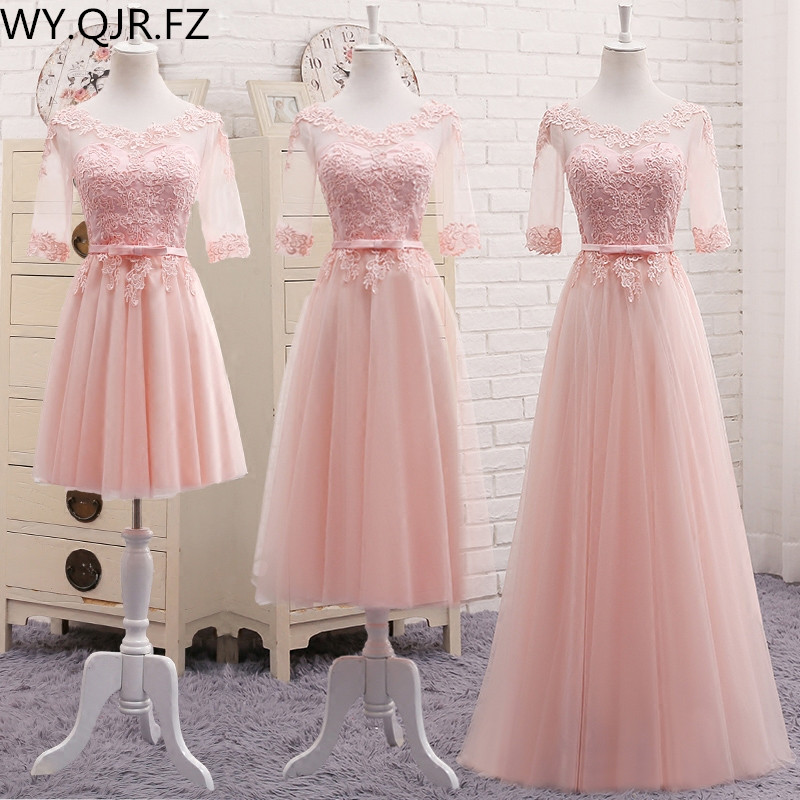 MNZ-509#half Sleeve Embroidery Lace Up Long Pink Spring 2019 New Wedding Party Prom Toast Dress Bridesmaid Dresses Wholesale