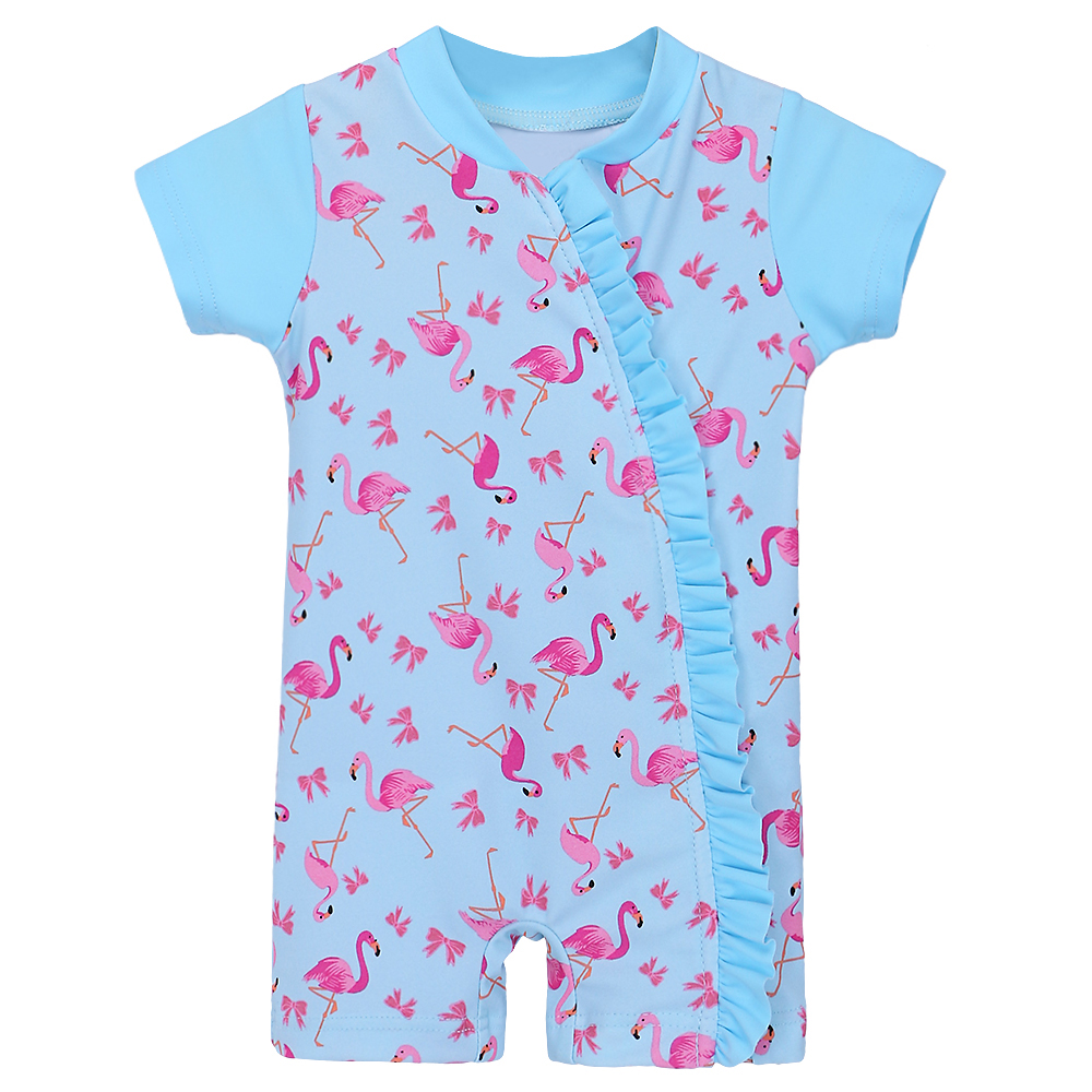 BAOHULU Flamingos Pattern Toddler Girls Swimwear Infant Baby Bathing Suit Kids One Pieces Swimsuit Surf Suits with Zipper 2018 children swimming wear baby girls one piece swimwear with birds pattern kids swimsuit bathing suit summer wear sw0623