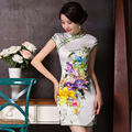 Free shipping Chinese Tradition Women's Silk Satin Flower Mini Cheong-sam Dress S M L XL XXL TMZ004