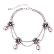 Горячее предложение новое классическое очаровательное Двухслойное ожерелье-цепочка античный серебряный цвет цветок Роза имитация чокер с жемчугом подвеской ожерелье