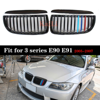 E90 E91 Single Line Gloss M Color ABS Front Grilles For BMW 3 Series E90 E91 pre LCL 2005 2006 2007