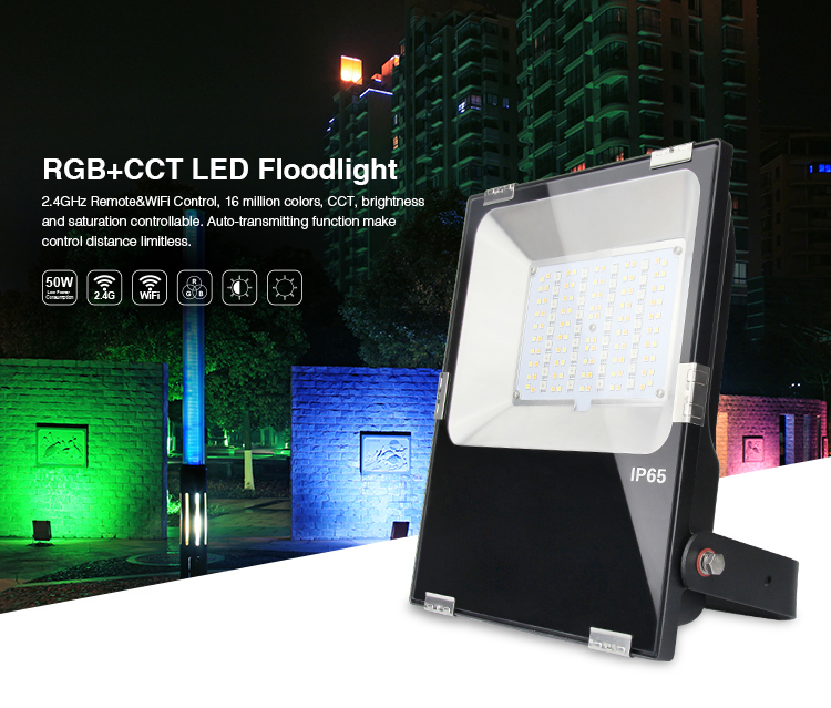 Mi Light 50W LED Floodlight IP65 AC85-265V Waterproof RGB + CCT LED Flood Light For Outdoor Lighting Free shipping 2017 ultrathin led flood light 70w cool white ac110 220v waterproof ip65 floodlight spotlight outdoor lighting free shipping