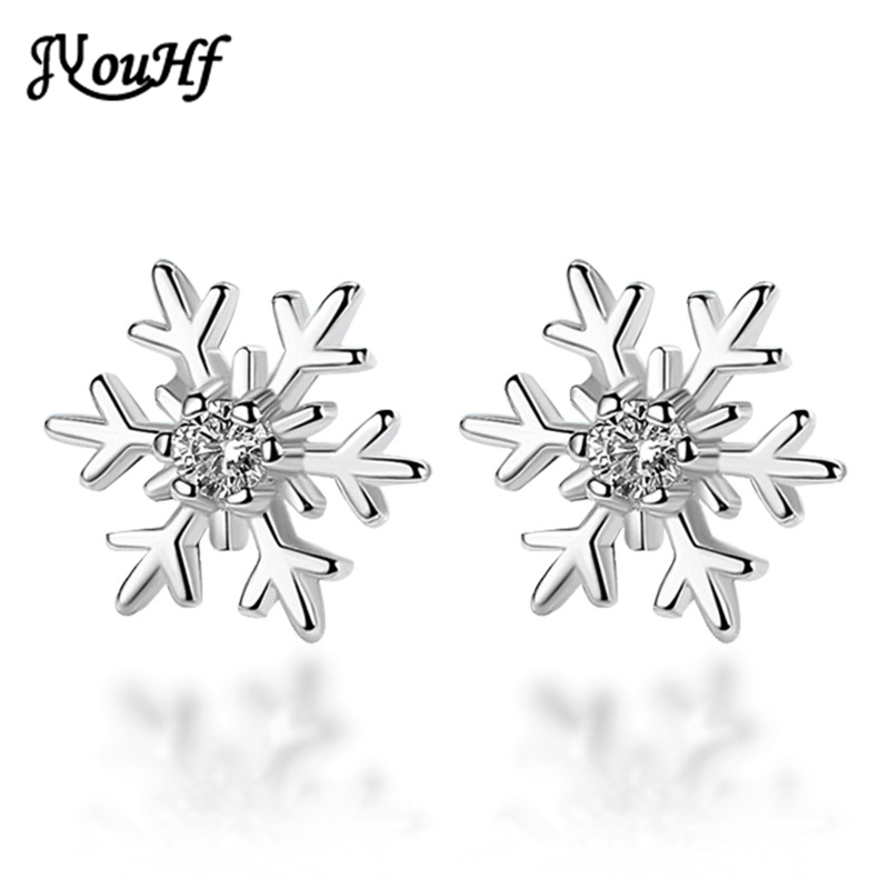 JYouHF Brand New Arrival Snowflake Stud Earrings Paved Micro Clear Crystal Silver Plated Party Earrings for Women Christmas Gift