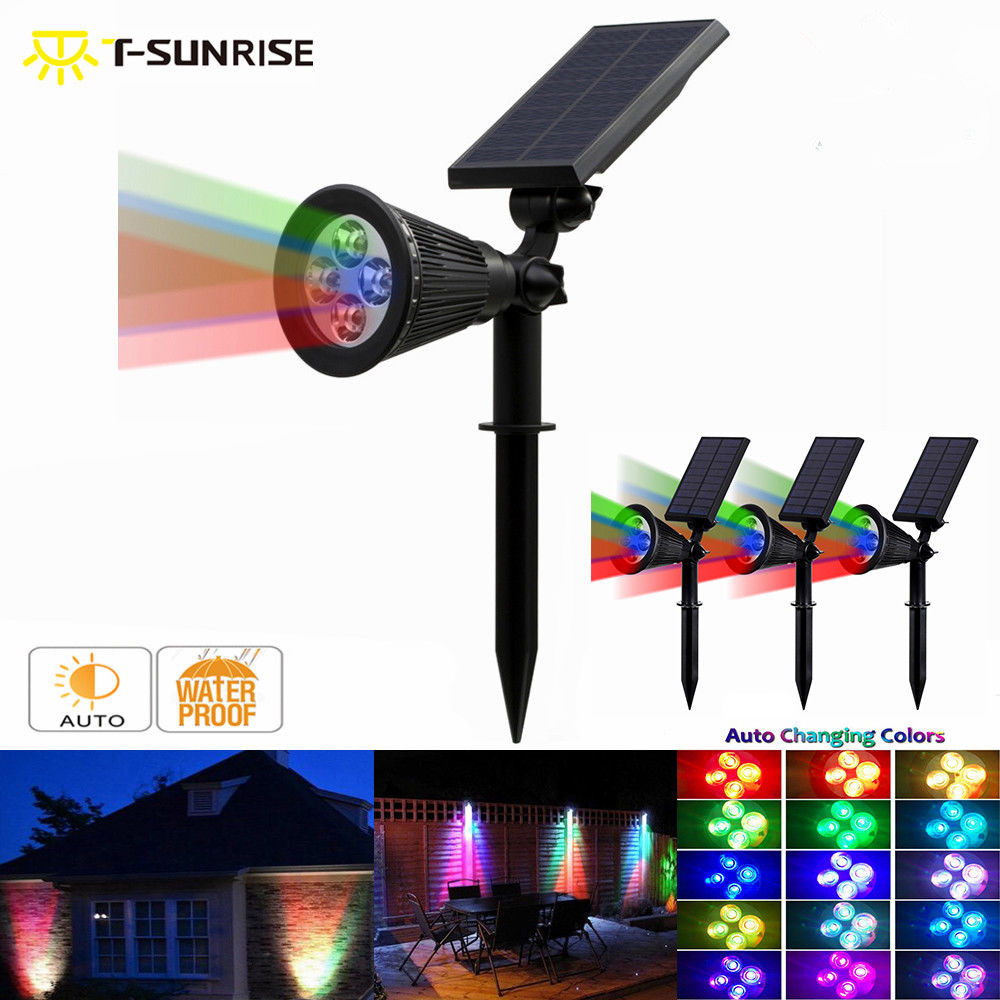 T SUNRISE 4 Pack LED Solar Spotlight Outdoor 4 LED Solar Lamp IP65 Waterproof Angle Adjustable