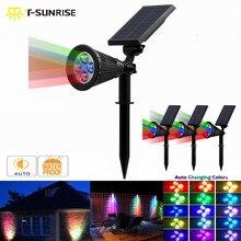 T-SUNRISE 4 Pack LED Solar Spotlight Outdoor Lamp IP65 Waterproof Angle Adjustable RGB Wall Light for Yard Garden