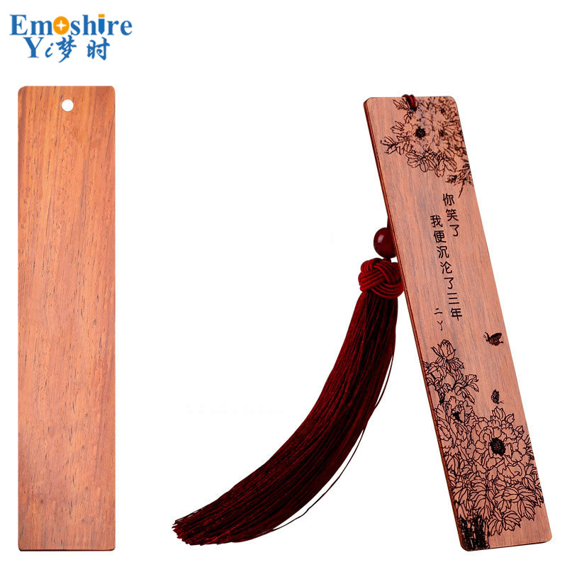 Personality Red Woody Chinese Style Creative Gift Complex Classical Art Tassel Bookmarks DIY Custom LOGO Lettering M022 wooden ancient bookmarks chinese complex classical teachers festival gifts bookmarks creative bookmarks sets m097