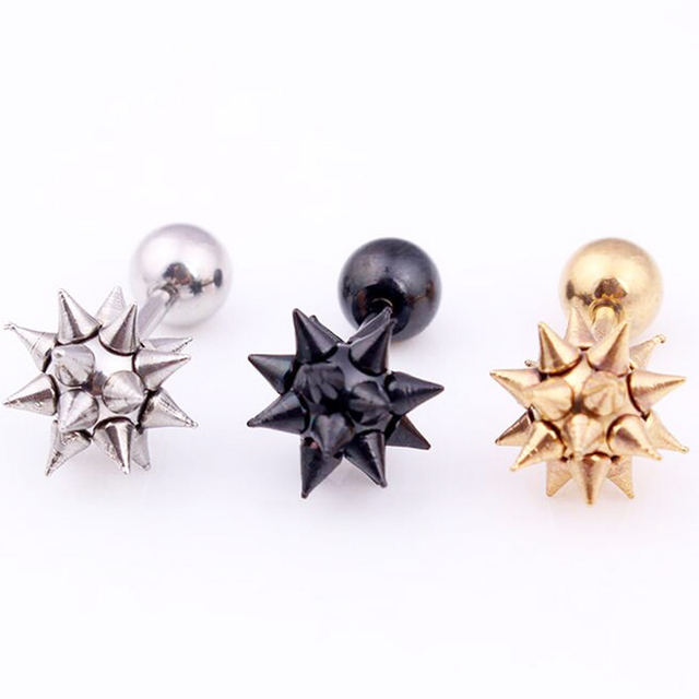 2PC 316l Stainless Steel Spike Hammer Stud Earring