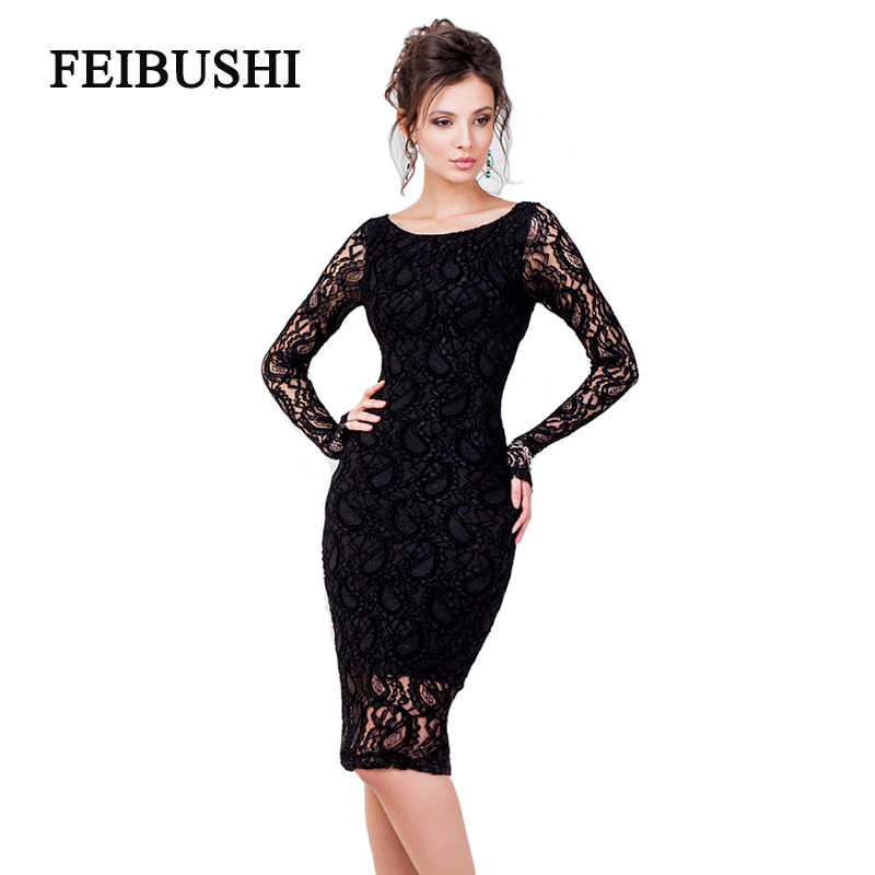 FEIBUSHI 3XL Plus Size Sexy Lace Dress Women Party   Club Long Sleeve  Knee-Length 8a4bb86b7c59