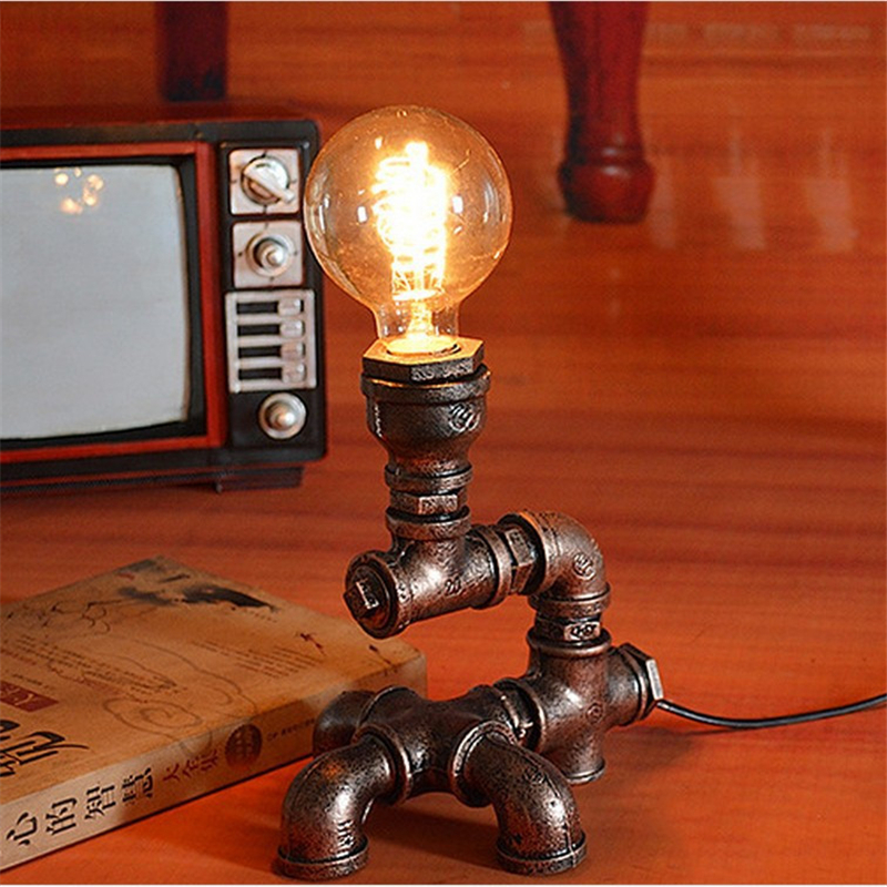 Creative Iron Robot decoration Desk light E27 Personality Vintage Industrial Wind Water pipe Desk lamp for Study Bedroom industrial pipe table lamp loft vintage novelty desk lamp study room light night light creative decoration desk lamp metal