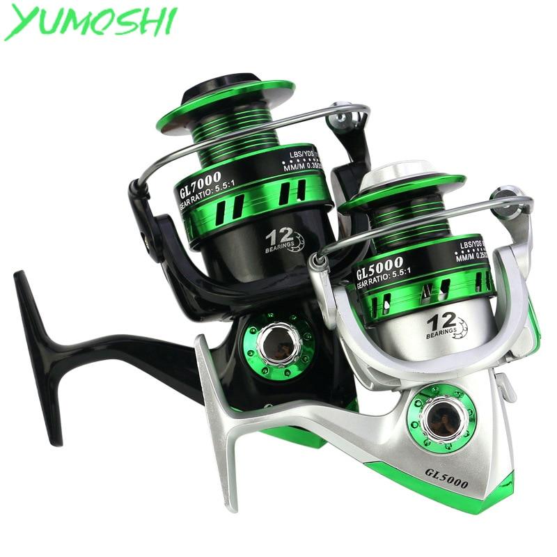 Yumoshi nuevo 5,5: 1 12BB Molinete carpa carrete de la pesca relación de engranajes gran juego pesca carretes alimentador Carretilha de pesca