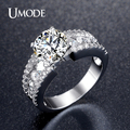 UMODE Fashion 2.75ct Cubic Zirconia Wedding Engagement Rings For Women Rhodium Plated Unique Jewelry Female Ring Bijoux UR0354