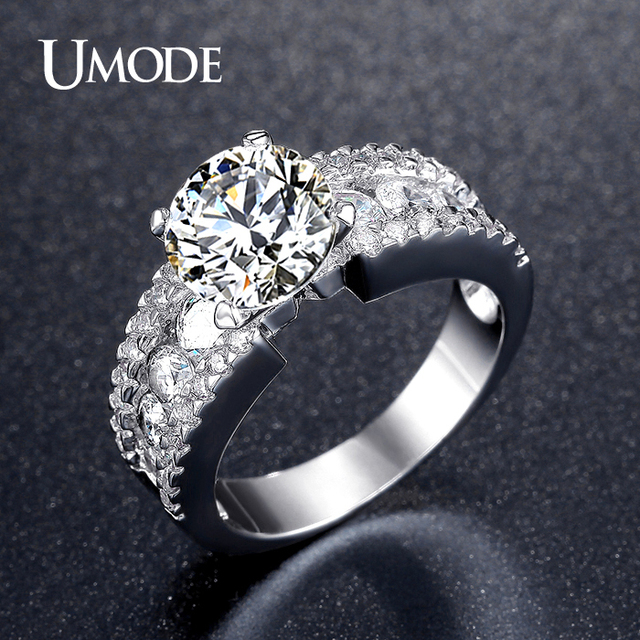 UMODE Fashion 2.75ct Cubic Zirconia Wedding Engagement Rings For Women White Gold Color Unique Jewelry Female Ring Bijoux UR0354